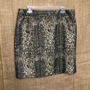 Worthington 14 Skirt Python Gold Black Snake Print